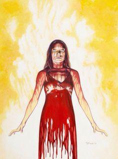 Sissy Spacek as Carrie Stephen King Tattoos, Carrie Movie 1976, Carrie Book, Carrie Horror Movie, Scary Movies, Horror Movies, Carrie Stephen King, King Drawing, Sissy Spacek