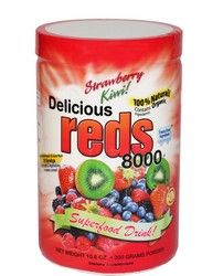 You wanted a bold and fearless adventure? Don't look any further! Delicious Reds 8000 is the best Fruity Greens Drink in the market, and it's red. Not bad, huh! How did we get the red color? First, to make the base, we used Certified Organic freeze dried Berries that have cool colors; red and black Raspberries, Bilberries, Goji Berries, Cherries, Cranberries and Strawberries, to mention a few.