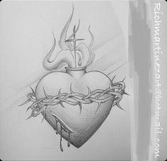 Angel Devil Tattoo, Angel And Devil, Jesus Tattoo, Bird Drawings, Tattoo Drawings, Chest Tattoo Sketches, Sacred Heart Tattoos, Egypt Tattoo, Herz Tattoo