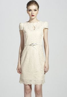 Apricot Short Sleeve Belt Lace Bodycon Dress $67.21