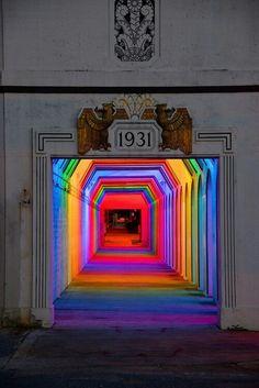 Coloured tunnel lighting
