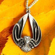 Zilver uil ketting Keltische uil hanger Sterling door CelticEternity