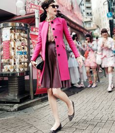 pink coat...leather skirt