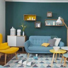 deco-salon-vintage-jaune-bleu
