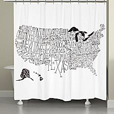 Add a touch of creativity to your bathroom décor with the Laural Home United States States Map Shower Curtain. This neutral colored shower curtain features a map of the U.S with the states spelled out in black against a solid white background. Curtain Accessories, Shower Accessories, Shower Curtain Sets, Bathroom Shower Curtains, Chevron Bathroom, Contemporary Shower, White Shower, Shower Liner, Bath Linens