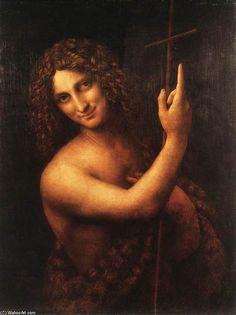 """""""San Giovanni Battista"""", olio su pannello di Leonardo Da Vinci (1452-1519, Italy)"""