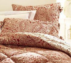 Dolly Comforter & Sham #potterybarn paisley, red, potteri barn, sham potterybarn, master bedrooms, barns, pottery barn, dolli comfort, comforters