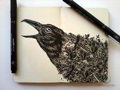 Kerby Rosanes Doodle Art Illustration Moleskine New Ideas Notebook Art, Notebook Doodles, Pen Doodles, Animal Doodles, Doodle Art, Pages Doodle, Ink Illustrations, Art And Illustration, Moleskine Sketchbook