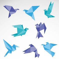 Free Vector Flat Origami Bird Set