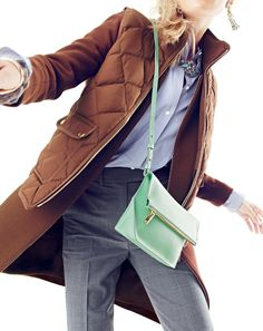 J.Crew women's excursion quilted down vest, double-cloth collarless coat, ombré crystal necklace and Bennett crossbody bag.