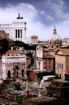 Ancient Roman Forum ruins in Rome, Italy