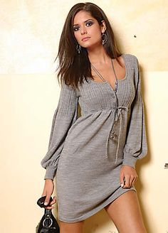 Soft Knitted Puff Sleeve Dress