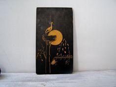 Vintage Folk Art Stork Wall art Golden etched Black by MeshuMaSH
