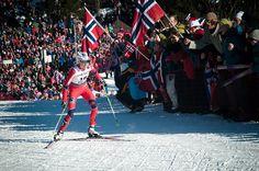 FIS Nordic World Ski Championships, Oslo.  Kristin Størmer Steira being cheered on by thousands of Norwegian fans. 7 March 2011. Photo: John Erik via Flickr    Kristin Størmer Steira being cheered on by thousands of norwegian fans.