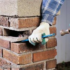 home repair learn how to clean, reset and tuckpoint loose bricks. a loose brick can ultimately lead to major problems even a wall collapse but the fix is simple. Mortar Repair, Brick Repair, Up House, House Wall, Home Renovation, Home Remodeling, Brick Laying, Concrete Bricks, Cement