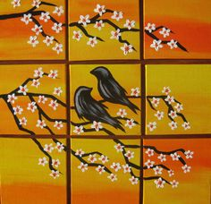small yellow bird art small paintings with birds by SheerJoy