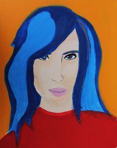 Pop Art portrait based on Roy Lichtestein, acrylic paint on canvas 30x40cm, Suzie 10yrs