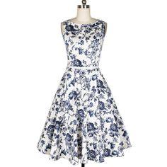 Vintage Blue Flower Print Boat Neck Sleeveless Mid-Calf Women's Pleated Dress With Belt