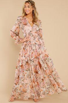 Romantic Peach Dress - Long Sleeve Floral Print Maxi - Dress - $82 Pink Floral Maxi Dress, Blush Pink Dresses, Floral Pants, Lace Dresses, Midi Dresses, Summer Dresses, Peach Dress Long, Dot Dress, Dress Red