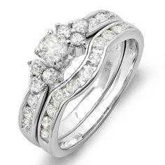 1.10 Carat (ctw) 14K White Gold Round White Diamond Engagement Bridal Ring Set 1 CT - Listing price: $2,586.50 Now: $739.00 + Free Shipping