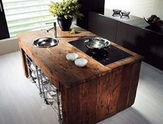 DIY reclaimed wood kitchen Island,--- this would look so good in a modern kitchen Reclaimed Wood Kitchen, Wooden Kitchen, New Kitchen, Salvaged Wood, Timber Kitchen, Recycled Wood, Primitive Kitchen, Awesome Kitchen, Reclaimed Timber