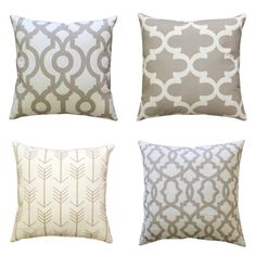 This beige decorative pillow is a neutral accent that will go with anything. These throw pillows feature the shades of beige and white. Perfect chair accent pillows or couch pillows for your living room! Ecru Pillow Cover Features: • Choose your size and pattern at checkout • Colors: beige and white • Fabric: 100% Cotton, medium-weight fabric • Same fabric on front and back, pattern lines up on all sides, inside edges are serged to prevent fraying • Zippered Pillow - Hidden zipper closure •…