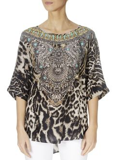 This is the 'Siberia' Sleeve Leopard Print Fish Top by the ever-stunning brand, Inoa! Loose Fitting Tops, Loose Tops, Ladies Tops, Embellished Top, Warm Weather, Knitwear, Fish, Boho, Lady