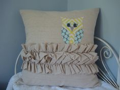 Cotton Owl and Ruffle Pillow Cover-Little Owl's Nest. $35.00, via Etsy.