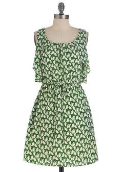 Refashion Idea...Strategic Muse Dress - Mid-length, Green, White, Print, Ruffles, A-line, Tank top (2 thick straps)
