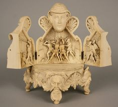 Carved Ivory Of Mary, Queen of Scots, Hinged Chest Opens To Reveal Triptych With A Scene From Assasinat de Riccio.  The Base Is Supported By Four Feet With Faces, Possibly Representing The Four Winds   c.19th Century