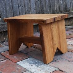 A step a seat for small folk and weary feet- Stool made of Reclaimed Oak from a broken down hardware store.