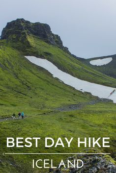 Best day hike in Iceland: Fimmvörðuháls Trail in Thorsmork. Things to do in summer in Iceland. Green mountains, Thorsmork valley, glaciers in Iceland