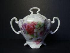 Antique Beautifully Detailed German Porcelain China Footed Sugar Bowl Flowers Hand Painted Porcelain
