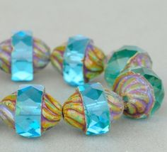 Czech Glass Beads Spiral Central Cut Aqua by SolanaKaiBeads