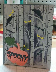 Halloween Card made using Stampin Up's Among the Branches and Woodland Embossing folder. Also dies from Taylored Expressions Gothic Window Accessories, Little B Halloween