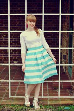 Aqua Striped Skirt