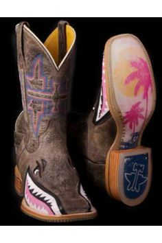 Tin Haul Ladies Gnarly Pink Shark Boot With Man Eater Sole Boots Urban Western Wear Cowgirl Boots For Sale, Brown Cowboy Boots, Western Boots, Western Wear, Tin Haul Boots Womens, Pink Shark, Toms, Cute Boots, Women's Boots