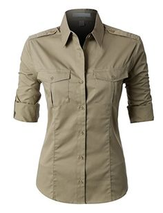 This easy care roll up sleeve twill button down shirt is perfect for uniforming. This shirt is strategically crafted from a mediumweight, durable material for maximum coverage while still offering all Womens Uniform Shirts, Long Sleeve Tops, Long Sleeve Shirts, Cool Outfits, Casual Outfits, Twill Shirt, Polished Look, How To Roll Sleeves, Workout Shirts