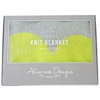 Alimrose Heart Cotton Knit Stroller Blanket - Grey & Neon Yellow #mamadoo #baby #blankets