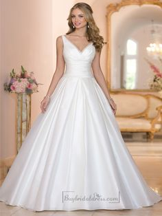 Straps A-line V-neck and V-back Wedding Dresses