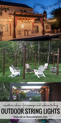 Creative Ideas For Using And Where To Buy Outdoor String Lights Featured On Remodelaholic.com #backyardlighting #lighting #porchandpatio #outdoorstringlights #lights #stringlights