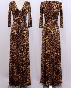 LEOPARD Animal Print MAXI DRESS Jersey FAUX WRAP Long Skirt CRUISE Travel S M L #tamarstreasures #FauxWrap #Cocktail