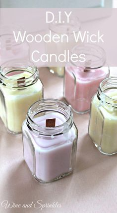 DIY Candles are so easy and fun to make! I used the ends of my wedding candles and favor jars for these lovely wooden wick favor candles for upcoming showers and gifts for my friends! Bridal Shower Favors Diy, Bridal Shower Rustic, Diy Wedding Favors, Wedding Invitations, Baby Shower Candle Favors, Wedding Gifts, Unique Baby Shower Favors, Party Favors, Wedding Stuff