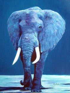 Art 'My Blue Elephant ( sold )' from Exhibit Entries by artist Ulrike 'Ricky' Martin Elephant Bleu, Thai Elephant, Elephant Love, Elephant Artwork, Elephant Wallpaper, Animal Wallpaper, Elephant Illustration, Blue Aesthetic Pastel, Save The Elephants