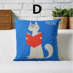 Cute Animal Cat decorative pillow for Couch cushions cartoon style