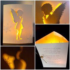 """Vor kurzem stellte Andrea von Blütenstempel eine """"ins Licht gerückte Karte"""" mit Engelchen ein, die ich total süß fand.  Von ihr inspiriert, habe ich nun eine Karte in drei gleichen Teile gefaltet, mit"""