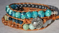 Aqua 3X Leather Wrap Bracelet, made with Abalone Agate and Silver beads and Pewter Mermaid Button - by SeaSide Strands