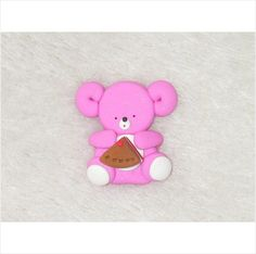 Bear with slice of cake - made from Polymer Clay (fimo) card making topper on eBid United Kingdom