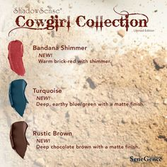 The Cowgirl ShadowSense Collection by SeneGence includes 3 gorgeous new colors: Bandana shimmer, Rustic Brown and Turquoise.  Click thru to grab your collection NOW.   #cowgirlcollection #shadowsense #senegence #rusticbrown #bandanashimmer #turquoise