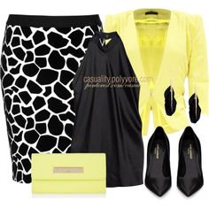 """""""Top Shop Giraffe Printed Skirt & Light Yellow"""" by casuality on Polyvore"""